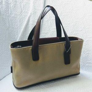COACH Tan Twill/Leather Handbag Rare/Vintage